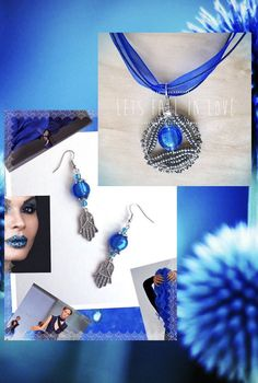 Blue Hamsah Earrings & Beaded Pendant, Folk Jewelry Set, Ethnic Jewelry, Handmade Gift, For Her, Women's Accessories by Creationlily on Etsy https://www.etsy.com/listing/267699655/blue-hamsah-earrings-beaded-pendant-folk