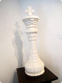 Lego chess piece sculpture schaakstuk