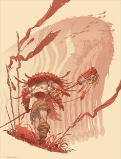 """From my personal project """"Numinous""""! An ancient civilization of nature dwelling creatures I'm writing about and beginning to explore. I'll be diving more into them as well as their gods, civilization, societal roles and ways of life as I Trevino Art, Character Art, Character Design, Character Ideas, Character Concept, Humanoid Creatures, Concept Art World, Arte Horror, Red Art"""