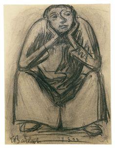 El pensador II. Carboncillo. 1922. 34,5x26,3 cm. Artista: Ernst Barlach.