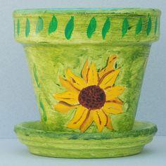 Green SUNFLOWER FLOWER POT, Hand Painted Flower Pot, Tole Painting on Clay Flower Pot Original Tole Painting on Terracotta Flower Pot