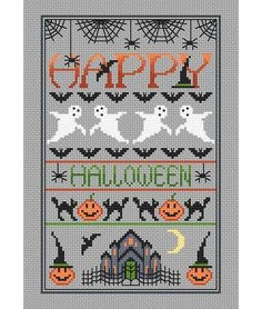 Happy Halloween Cross Stitch Kit £20.75 | Past Impressions | Little Dove Designs