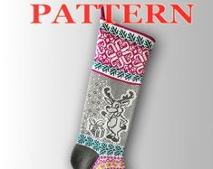 Etsy :: Your place to buy and sell all things handmade Knitted Christmas Stocking Patterns, Knitted Christmas Stockings, Xmas Stockings, Christmas Knitting, Santa Stocking, Patterned Socks, Fair Isle Knitting, Scandinavian Christmas, Christmas Snowman