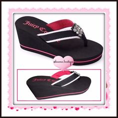 "Juicy Couture Pink & Black w/Rhinestones Sandals HPNWT Juicy pink/black rhinestone wedge sandals! Feature rhinestone detail, fabric strap & toe post give added comfort, padded footbed & outsole provides stability. Fabric upper/lining, EVA outsole, 3"" heel, 0.38"" platform  *L 9-10 *XL (11) *Size Down if 1/2 Size *Gray/Green & Pink/White available in separate listing to purchase & bundle! *Bundle Discounts, Smoke-Free, No Trades Juicy Couture Shoes Sandals"