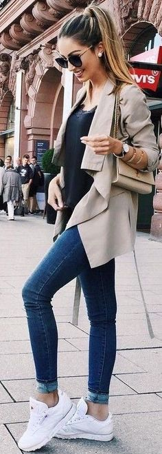 #fall #stylish #outfits | Tan Trench + Black Sweater + Denim