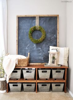LOVE this entryway!! BONUS: cute baskets from Walmart!