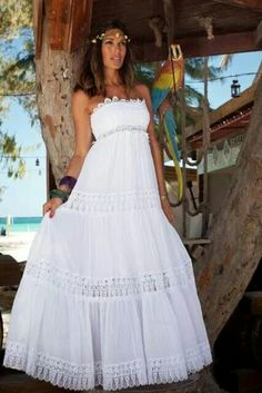 Para boda en la playa White Maxi Dresses, Lovely Dresses, White Dress, Summer Dresses, Hijab Style Dress, Boho Dress, Hippie Style, Bohemian Style, Boho Chic