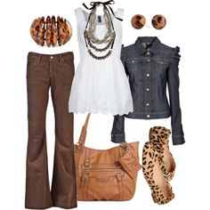 """""""animal instinct"""" by htotheb on Polyvore- didn't think to put my jacket with my brown pants"""