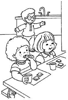 Eten en drinken #kleurplaat #eten #op_school
