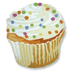 You've seen the Sweet Dreams Cupcake Pillow and Cupcake Mugs, but have you ever seen a Cupcake Rug? It looks like we've got vanilla cake with vanilla frosting, Kitchen Themes, Kitchen Decor, Kitchen Ideas, Kitchen Stuff, Bakery Kitchen, Bathroom Rugs, Bathroom Ideas, Accent Rugs, Novelty Gifts