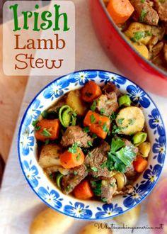 Irish Lamb Stew Recipe - Stovetop, Oven & Slow Cooker Instructions    whatscookingamerica.net    #irish #lamb #stew #stpatricksday #dutchoven #slowcooker