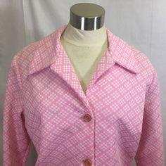 50s Serbin Muriel Ryan Shirt Dress Pink Dot Pattern Thick Polyester Button Front #SerbinofFlorida