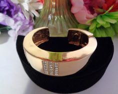 15% off w/Coupon 102116  Les Bernard Haute  Goldtone and Rhinestone Cuff Bracelet Signed . A True Vintage Treasure to add to you Collection. Les Bernard is a great designer and worthy of collecting. www.CCCsVintageJewelry.com