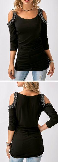Ruched Rhinestone Embellished Cold Shoulder Black T Shirt.