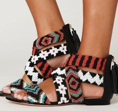 amazing beaded sandals. i want these now by deloris