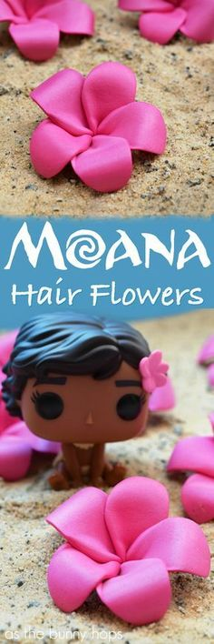 Create cute and fun DIY pink plumeria hair flowers inspired by Disney\'s Moana!
