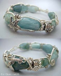 Tidal Wave Bracelet with clouded aquamarine nuggets and sterling silver.