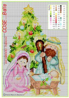 from Schema punto croce Natività, Santa famiglia Learn Embroidery, Hand Embroidery Patterns, Cross Stitch Embroidery, Cross Stitch Christmas Ornaments, Christmas Cross, Cross Stitch Designs, Cross Stitch Patterns, Cross Stitch Needles, Crochet Cross