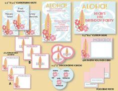 Custom DIY Party Package - Aloha/Surf/Luau Printable Party Bundle: Pink, Blue and Yellow Surf/Luau Birthday on Etsy, $20.00
