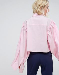 STYLENANDA Cropped Shirt With Puff Sleeves And Raw Hem
