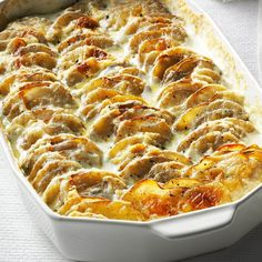 Super Simple Scalloped Potatoes Recipe- Recipes I've made many types of scalloped potatoes but I always come back to this rich, creamy and fail-proof recipe. This is a dish where the bottom gets scraped clean.Kallee Krong-McCreery, Escondido, CA Potato Sides, Potato Side Dishes, Vegetable Side Dishes, Vegetable Recipes, Chicken Recipes, Scalloped Potatoes Easy, Scalloped Potato Recipes, Potluck Recipes, Side Dish Recipes