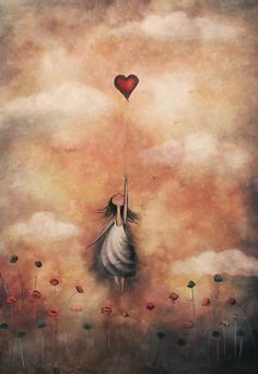 love-from-up-above (by amanda cass) [red heart balloon] Illustration Art, Illustrations, Angel Art, Heart Art, Whimsical Art, Pretty Pictures, Painting & Drawing, Fantasy Art, Art Drawings