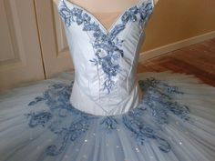 Classical ballet tutu by Margaret Shore - ice blue shantung with hand-dyed blue lace