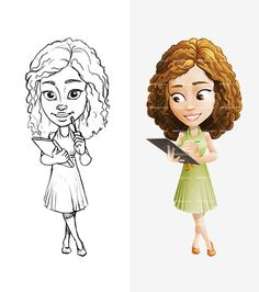 girl cartoon character with short