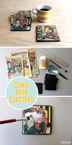 Transform your favorite comic book pages into vintage slate coasters with decoupage! Makes great sentimental gifts that could be displayed on a desk at work or at the coffee table at home. Requiring only $20 to make, you can't beat their budget-friendly price! DIY here: www.ehow.com/...