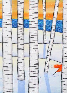 Nova Scotia Folk Art, Shelagh Duffett Prints & Painting by AliceinParis Tree Coloring Page, Colouring Pages, Watercolor Pattern, Watercolour, Paris Love, Nova Scotia, Rug Hooking, Love Art, My Images