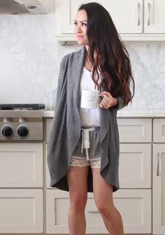 loungwear, sleepwear, pajama shorts, oversized cardigan
