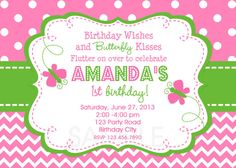 Chevron Butterfly Birthday Invitation by TheTrendyButterfly