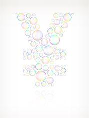 Yen on Soap Bubbles royalty free vector icon set vector art illustration