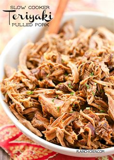 Slow Cooker Teriyaki Pulled Pork – THE BEST pulled pork! Pork shoulder slow cooked with onions, worcestershire sauce, teriyaki sauce… Pulled Pork Recipe Slow Cooker, Slow Cooker Pork Tenderloin, Slow Cooked Pork, Slow Cooker Pork Shoulder, Pork Shoulder Roast, Crockpot Pork Shoulder Recipes, Slow Cooking, Smoked Pulled Pork, Pork Recipes