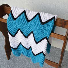 Crocheted Blanket, Crocheted Throw, Chevron Throw, Baby Blanket, Adult Throw, Hawaii Blue, Black and White Colors, Handmade