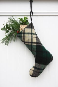 49ddda9c6 Green Plaid Wool Christmas Stocking