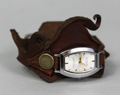 Leather Cuff Wrist Watch - Vintage Watch - Steampunk Watch - Leather Watch - Bracelet Watch - Post Apocalyptic Watch - Women's Watch
