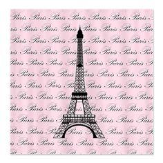 Eiffel Tower Cartoon   ... > Black Bathroom > Pink and Black Paris Eiffel Tower Shower Curtain