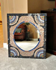 ON SALE Extra Large Custom Mosaic Mirror by memoriesinmosaics Mirror Mosaic, Mosaic Glass, Fused Glass, Stained Glass, Mosaic Designs, Mosaic Patterns, Gold Bathroom, Magick, Blue Gold