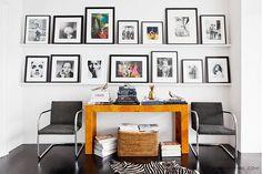 narrow shelving, black frames Home Tour: A Legendary New York Townhouse