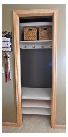 Small Coat Closet, Small Closet Space, Small Closets, Small Spaces, Shoe Closet, Front Closet, Hallway Closet, Closet Bedroom, Bathroom Closet