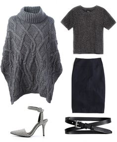 Another office-appropriate way to style the poncho is with a pencil skirt, simple tee, heels, and a belt.