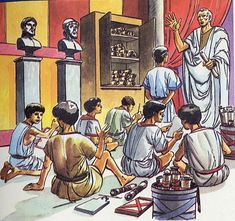 the tutor ~ often a highly educated slave Ancient Rome, Ancient Greece, Ancient Art, Ancient History, Medieval World, Medieval Town, Pax Romana, Roman History, Greek History