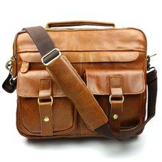 5e511f01994 Baigio Mens Large Retro Handbag Shoulder Messenger Bag Brown   100  Authentic   eBay