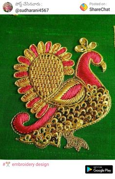 New Embroidery Blouse Designs Latest 22 Ideas Peacock Embroidery Designs, Embroidery Leaf, Embroidery Works, Embroidery Monogram, Embroidery Fashion, Paper Embroidery, Hand Work Blouse Design, Simple Blouse Designs, Maggam Work Designs