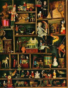 repinned vintage toy display - find them at www.rubylane.com #vintagebeginshere