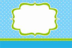 Poá Azul e Verde Limão - Kit Completo com molduras para convites, rótulos para…