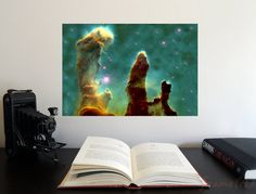 Pillars of Creation x Poster - Science Astronomy Wall Art Print- Window on the Universe series Astronomy Posters, Wall Art Prints, Unique Jewelry, Science, Painting, Vintage, Etsy, Products, Painting Art