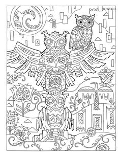 """Creative Haven Owls Coloring Book by Marjorie Sarnat, """"Totem"""""""