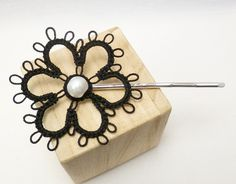 Tatted Sterling Daisy Bobby Pin in black with large pearl. $5.50, via Etsy.
